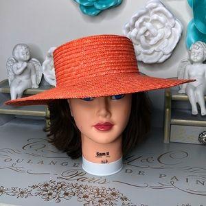 Hat, floppy orange summer straw shade hat